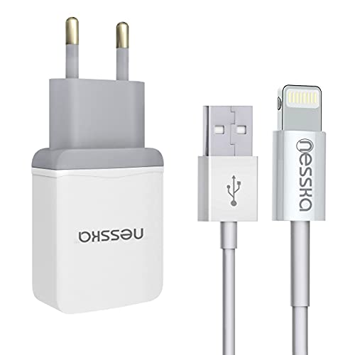 NessKa Originals 2in1 Schnellladegerät Ladeset | 1 Meter USB Highspeed Ladekabel [MFI Zertifiziert] + 2A Netzteil kompatibel mit Apple iPhone SE 2020 12 11 Mini Pro Max XS X XR 8 7 iPad iPod | iOS 14