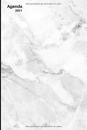 Agenda 2021: Agenda de 12 Meses con una Semana por Página, Tapa Blanda | Organizador semanal 2021 pared | Planificador semanal 2021 escritorio | ... | Tamaño de 15 x 23 cm | Cubierta de mármol
