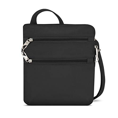 Full Anti-Theft features including locking compartments, slash-resistant construction, and slash-resistant,  adjustable strap Roomy main compartment with RFID blocking card and passport slots, open top pocket, zippered wall pocket and tethered key cl...