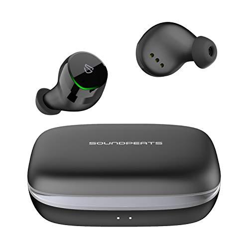 SoundPEATS(サウンドピーツ) TrueShift 完全ワイヤレス イヤホン Bluetooth イヤホン Type C &ワイヤレス充電 IPX7完全防水 モバイルバッテリー機能付き Bluetooth 5.0 66時間再生 自動ペアリング タッチ センサー式 ブルートゥースイヤホン 両耳&片耳 左右分離型 マイク内蔵 iPhone/Android対応 【メーカー1年保証】 (ブラック)