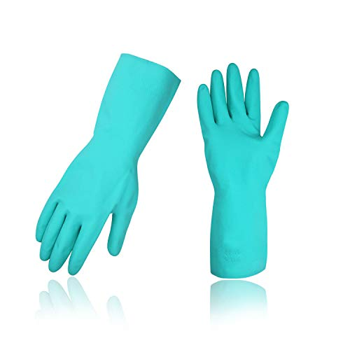 Vgo 10-Pairs Household Cleaning Gloves, Latex-Free Heavy Duty Nitrile Gloves with Chemical Resistance to Acid, Alkali and Oil (Size L, Green, NT2141)