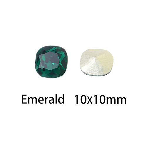 10mm cristaux carrés strass verre K9 fantaisie strass paillettes ongles art strass Pointback colle sur les ongles pour les vêtements des ongles, 123,10mm