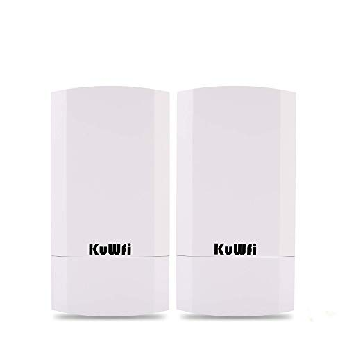 KuWFi Kit CPE outdoor wireless da 300 GB a 2 pacchetti, Bridge/CPE wireless point-to-point per interni ed esterni Supporta 1 km di distanza per la trasmissione a distanza PTP, applicazione PTMP