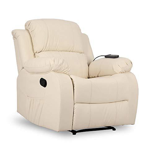 Don Descanso - Sillón Masaje Relax Calor Trevi Crema Reclinable 160º con 8 Motores Silenciosos, Calor Lumbar, Sist. Masaje 4 Zonas y Acabado en PU Anti-Cuarteo [Incluye Mando]. Ideal Gente Mayor