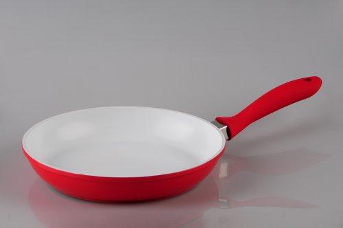 Alu Druckguss Bratpfanne Ø 26 cm, Höhe 5 cm, rot, weiße Keramikbeschichtung von Original Gerti Gundel Pfannen