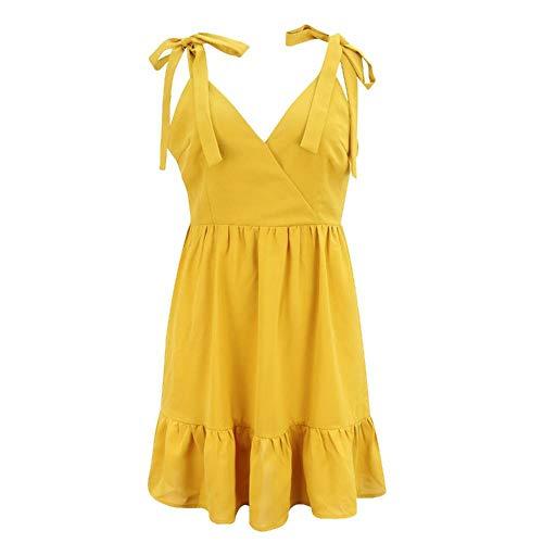 U/A Damen Hosenträger Riemen Kleid V-Ausschnitt Neckholder Kleid 2020 Sommer Europa und Amerika