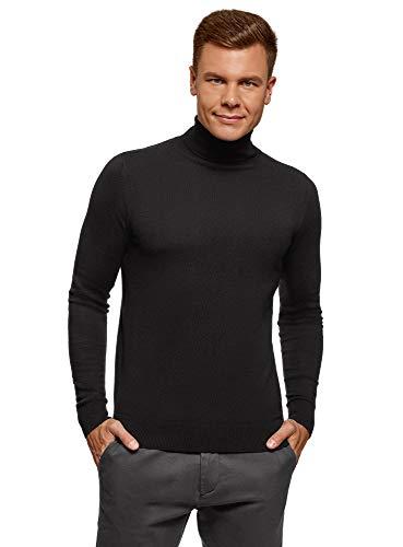 oodji Ultra Hombre Jersey Básico de Algodón, Negro, ES 52-54 / L