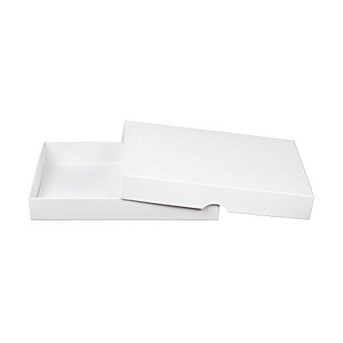 Weiße Faltschachtel 13 x 18 cm, Füllhöhe 25 mm, mit Deckel, Pappe, Karton für Fotos und Geschenke - 10er Set