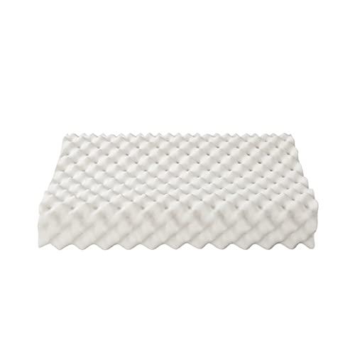 hanzeni Almohada de látex Natural para Dormir, partículas Grandes, Almohada de látex Transpirable, diseño aerodinámico de Ondas, Almohada 60 * 36 * 11 / 13cm Blanco