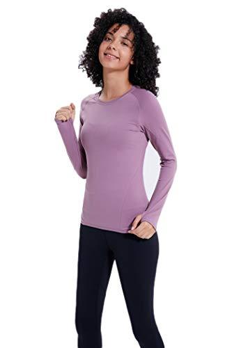 Liyuzhu Vrouwen High Quality Fashion Compression Ronde colloar Quick-Dry met lange mouwen Runing T-shirt met Ritsen (Color : Pink, Size : M)