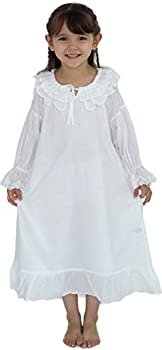 White Nightgowns for Girl 3T- 14 Cotton Vintage Princess Long Sleeve Night Gown Pajama Dress for Toddler Kids   3 - 14 Years)