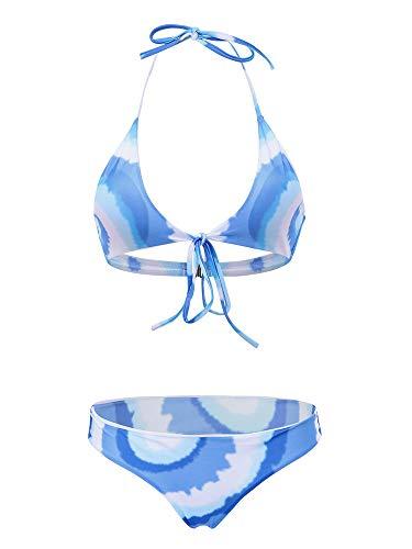 weichuang Traje de baño sexy estampado de bikini halter sin alambre, sin espalda, cintura baja y tanga, conjuntos de traje de baño (color: 2, talla: L)