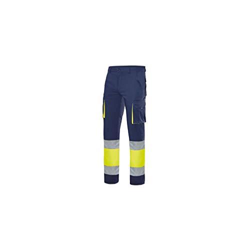 VELILLA Pantalon Stretch Alta Visibilidad Forrado Azul Navy/Amarillo Flúor XL