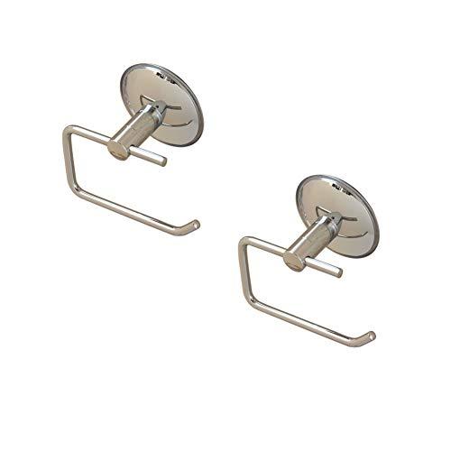 Zodensot Paquete de 2 estantes de ventosa para inodoro, sin perforación, acero inoxidable, soporte de pared de acero inoxidable, soporte de papel para baño, cocina, hotel, duradero
