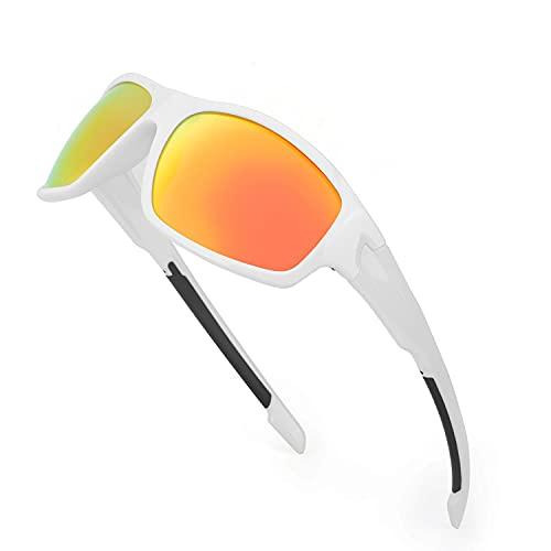 TJUTR Gafas de sol polarizadas deportivas para hombres y mujeres Ciclismo Correr Moda Espejo Lente Protección UV400 (Marco Blanco/Lente de Espejo Rojo)