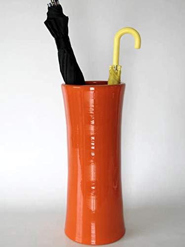 POLONIO - Paraguero de Ceramica Naranja de 50 cm - Bastonero de Ceramica para Entrada y Pasillo - Jarron de Ceramica Grande Color Naranja.