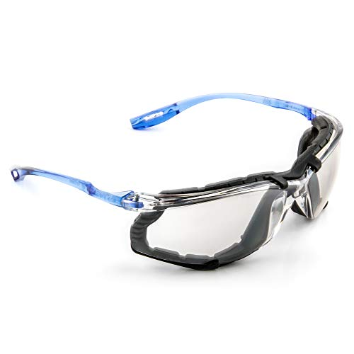 3M Safety Glasses, Virtua CCS, 1 Pair, ANSI Z87, Anti-Fog, Mirrored Lens, Blue Frame, Corded Ear Plug Control System