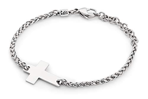 Handmade Stainless Steel Chain Bracelet For Men Set With Stainless Steel Cross Pendant By Galis Jewelry - Cross Bracelet For Men - Religious Bracelet For Men - FITS 7'-8' WRIST SIZE