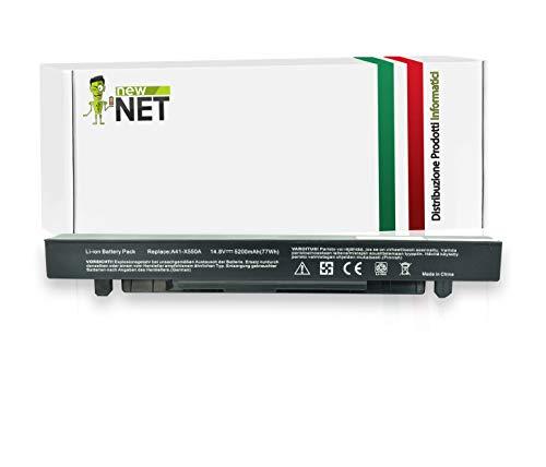 New Net Batteria A41-X550A compatibile con PC Notebook Asus Series F450V F450VC F450VE F452C F452E F452EP F550 F550C F550E F550L F550LB F550V F552C [14.8V - 5200mAh]