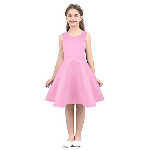 IEFIEL Vestido de Boda Fiesta para Niñas Vestido de Princesa Satén Vestido Corto sin Manga Traje de Ceremonia Cumpleaños 4-14 Años Rosa 6años