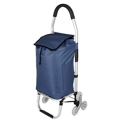 Einkaufstrolleys Push-Pull-Haus Einkaufswagen, Räder multifunktionale Gepäckwagen, leichte Aluminium-Klappwagen mit Leiter und wasserdichter Funktion (Color : A)