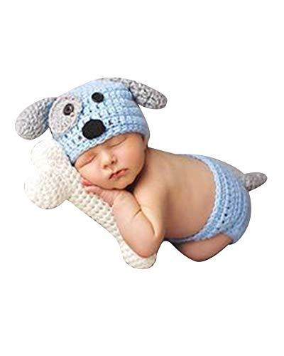 Neugeborenen Fotoshooting Kostüm Junge Mädchen Mützen Fotographie Prop Crochet Geschenk Baby Kleidung Neuborn Blau Beige