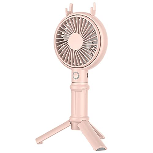 Ventilador de Camping Mini Portátil Ajustable USB Silencioso Portátil Ventilador de Mesa,Ventilador con 3 Velocidades Carga USB para Carrito de Bebé Estudiante Camping Viajes ( Color : Pink 2000mAh )