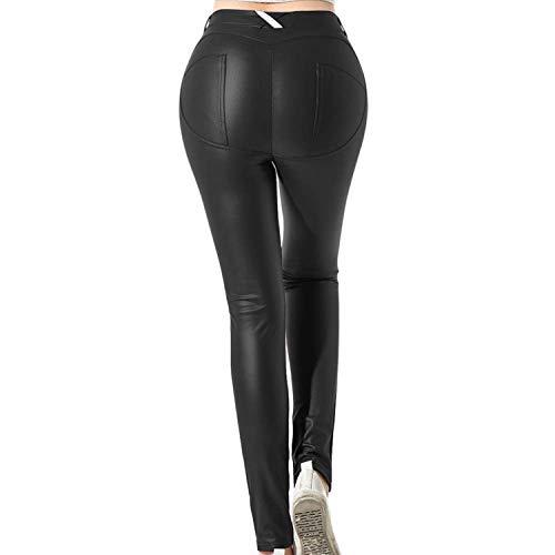 Uni-Wert Mujeres PU Leggins Cuero Brillante Negro Pantalón Cintura Alta Skinny Elásticos Pantalones para Mujer S-5XL