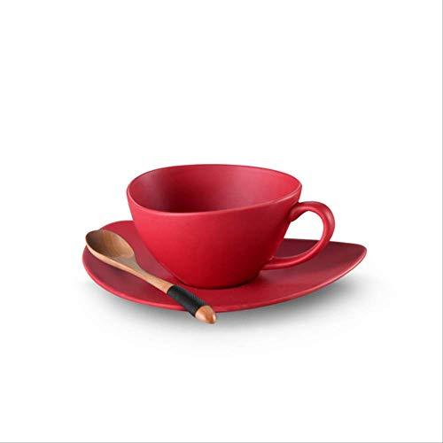 GBX Einfarbige Keramik Kaffeetasse und Untertasse Keramik Teetasse Set Espressotasse Latte Tasse und Holzlöffel Party DrinkWie Gezeigt