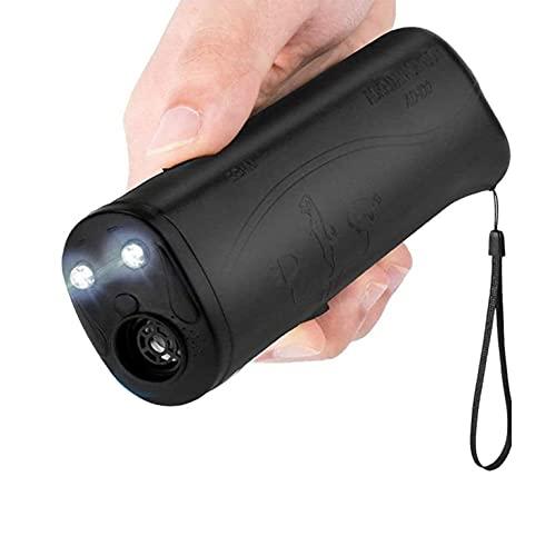 Repelente de Perros ultrasónico de Tres en uno Handheld Dog Barking Control Trainer con Linterna LED Tool de Entrenamiento de Comportamiento ultrasónico (Amarillo y Negro) (Color : Black)