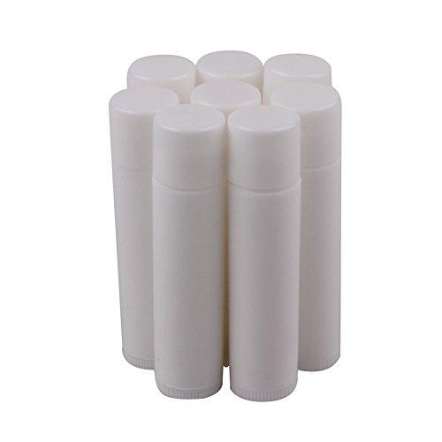 HugeStore, barattolo vuoto in plastica, contenitore per balsamo per le labbra, 5 ml, con tappo, colore bianco, Plastica, bianco, 25 pezzi