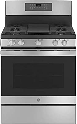 GE JGB735SPSS 30 Inch Freestanding All Gas Range with Natural Gas, 5 Sealed Burners, Griddle, 5 cu. ft. Total Oven Capacity