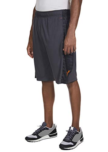 Spalding Mens Active Basketball Gym Athletic Workout Shorts with Print Interlock Side Panel Concrete Gray Medium
