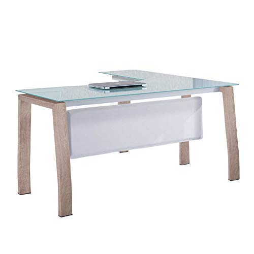 Adec - Blake, Mesa de Despacho, Mesa de Oficina o Escritorio, Estructura metálica Acabado en Color Oak y Cristal Templado, Medidas: 150 cm (Largo) x 70 cm (Ancho) x 74,5 cm (Alto)