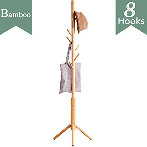 Bamboo Free Standing Coat Rack Stand, Adjustable Coat Tree with 3 Sections & 8 Hooks, Easy to...