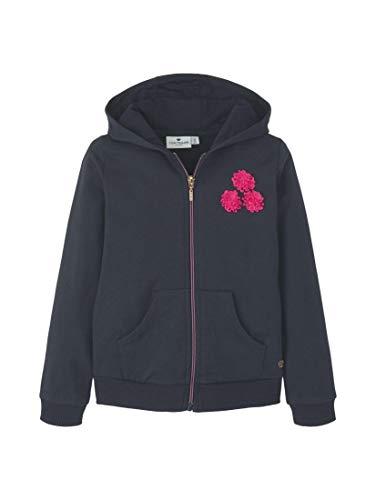 TOM TAILOR Mädchen Strick & Sweatshirts Sweatjacke mit Blumen-Verzierung Night Sky|Blue,104/110