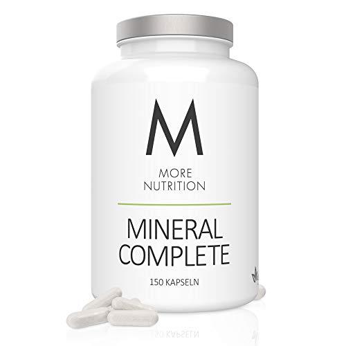 MORE NUTRITION Mineral Complete - Rundumversorgung mit Mineralstoffen, Spurenelementen und Vitaminen - 150 Kapseln mit Vitamin A, B9 (Folsäure) & B12 sowie Calcium, Magnesium, Zink, Eisen und Selen