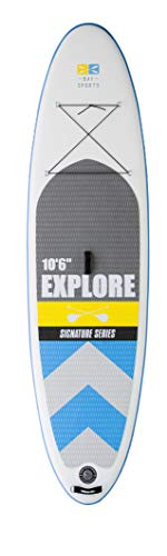 """Bay Sports 10'6"""" Explore - Premium Inflatable SUP Board Package - iSUP with Performance Fibreglass 3-Piece Adjustable Paddle and New Helios Triple-Action Pump - Designed in Australia (Blue/Yellow)"""