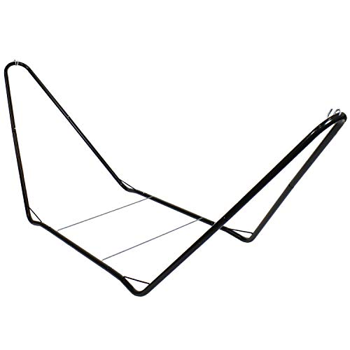 Sunnydaze 10 Foot Portable Hammock Stand Only - Heavy-Duty Steel Hammock Stand for Camping & Spreader Bar Styles - 300-Pound Capacity - Black