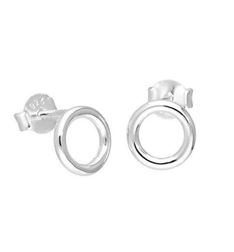 iszie Jewellery - Pendientes de tuerca de plata de ley 925, pequeños círculos de 4 mm, diseño minimalista