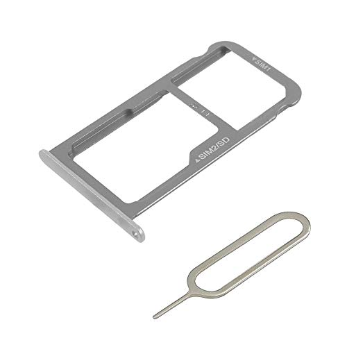 MMOBIEL Dual SIM Kartenhalter Kompatibel mit Huawei P9 2016 - SIM Card Tray Schlitten Inkl. SIM Pin - Silber