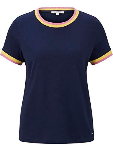 TOM TAILOR Denim Damen Kontrast Jerseyshirt T-Shirt, 10360-Real Navy Blue, L