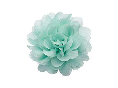 La Loria Damen 2 Schuhclips Sunny Flower aus Chiffon in Mintgrün Accessoire zum Schuhe verschönern