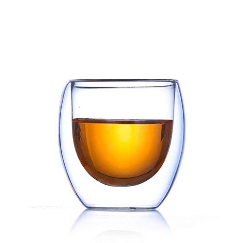 8 stuks van dubbel glas ontwerp koffie wijnglas, huishouden kopje thee anti-broeien cup, juice bar café, Clear lili (Color : Clear)