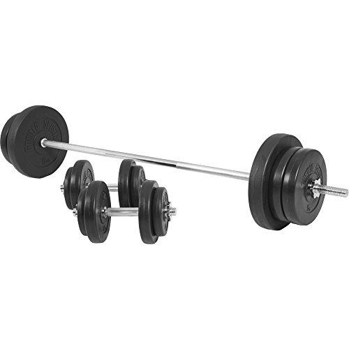 GORILLA SPORTS® Langhantel-Set 70 kg Kunststoff mit Langhantelstange, Kurzhanteln, Gewichten und Sternverschlüssen