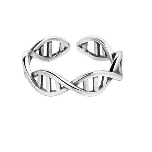 DNA-Ring, Chemie, Moleküle, Unendlichkeit, anpassbar, aus 925 Sterlingsilber