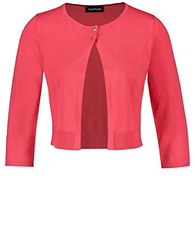 Taifun Damen Bolero Aus Feinstrick Figurbetonte Passform Paradise Pink XL