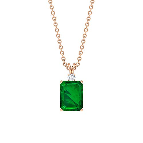 Emerald and Diamond Pendant 1.83 CT, Solitaire Pendant, Gold Pendant Necklace (8X6 MM Octagon Shaped Lab Created Emerald), 10K Rose Gold Without Chain