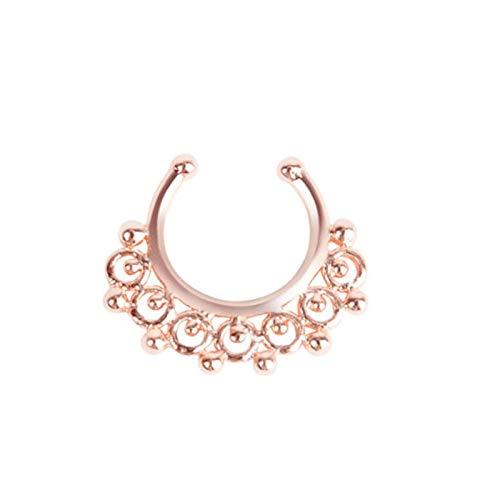 AnazoZ 1PC Piercing de Acero Quirurgico Vintage U Filigrana Oro Rosa Pendientes de Pircing Mujer