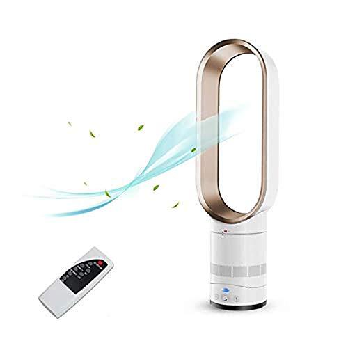 EZSMART Ventilador sin aspas de 25.5 pulgadas súper silencioso de iones negativos de seguridad ventilador sin hojas, ventilador de torre de control remoto para el hogar, oficina, dormitorio (dorado)